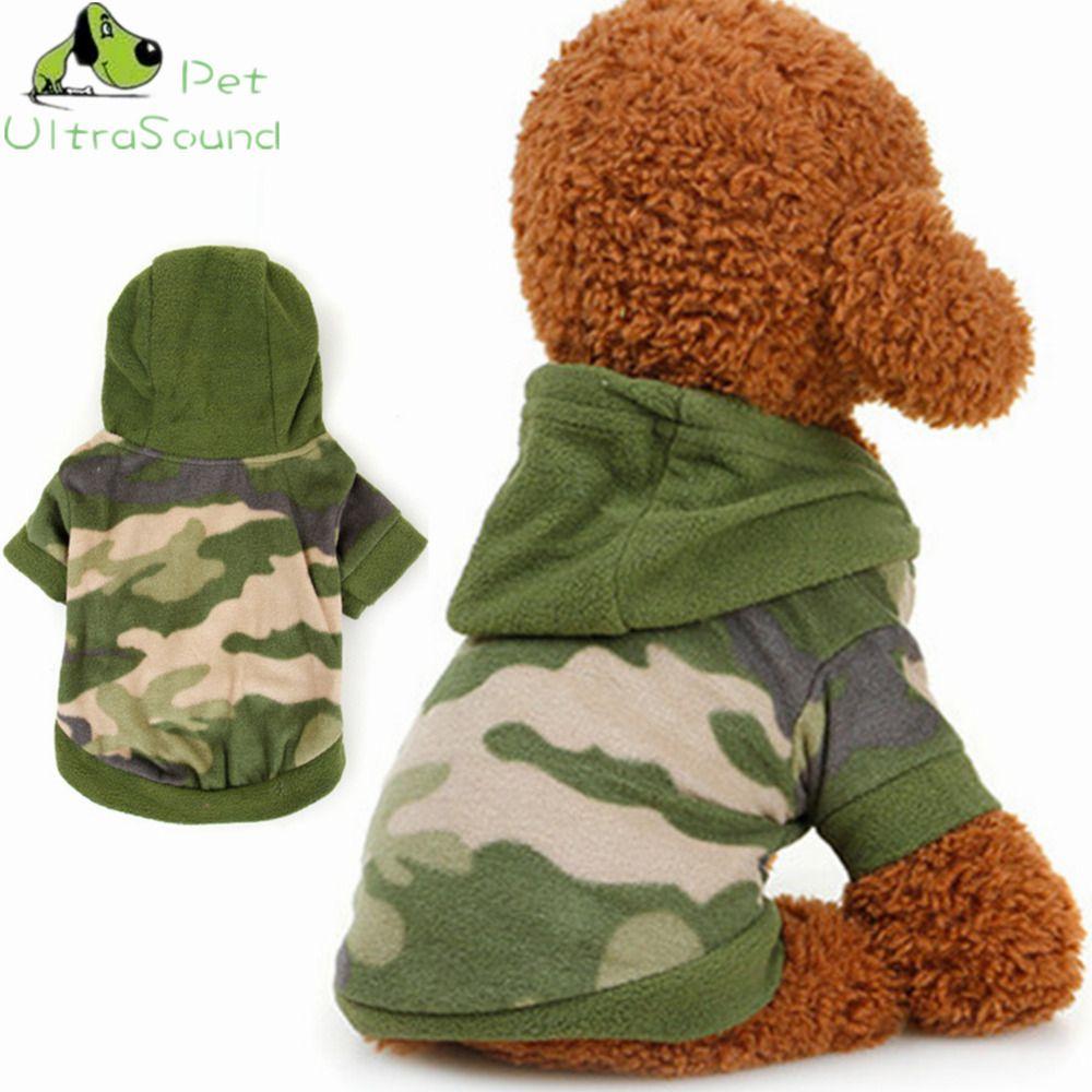 Ультразвуковой Pet осень-зима собака флис камуфляж Толстовки свитер пальто темно-зеленый цвет с предупредить Материал собака пальто Куртки