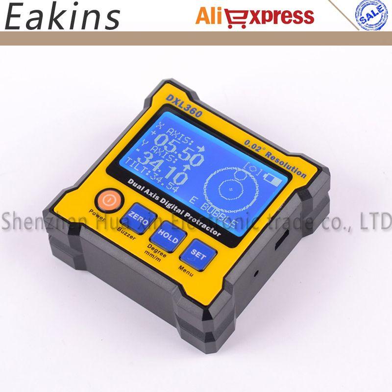 Upgrade High precision LCD Mini Digital Protractor Inclinometer Dual Axis Level measure box Angle ruler 0.02 Degree