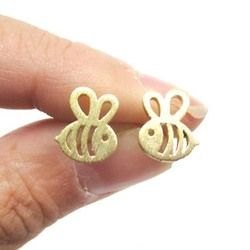QIMING Gold Silver ADORABLE BUMBLE BEE INSECT SHAPED STUD EARRINGS ANIMAL JEWELRY For Women Girl Gift Stud Earrings