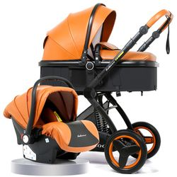 Luxury Baby Stroller 3 in 1 With Car Seat High Landscape Pram For Newborns Travel System Baby Trolley Walker Foldable Carriage