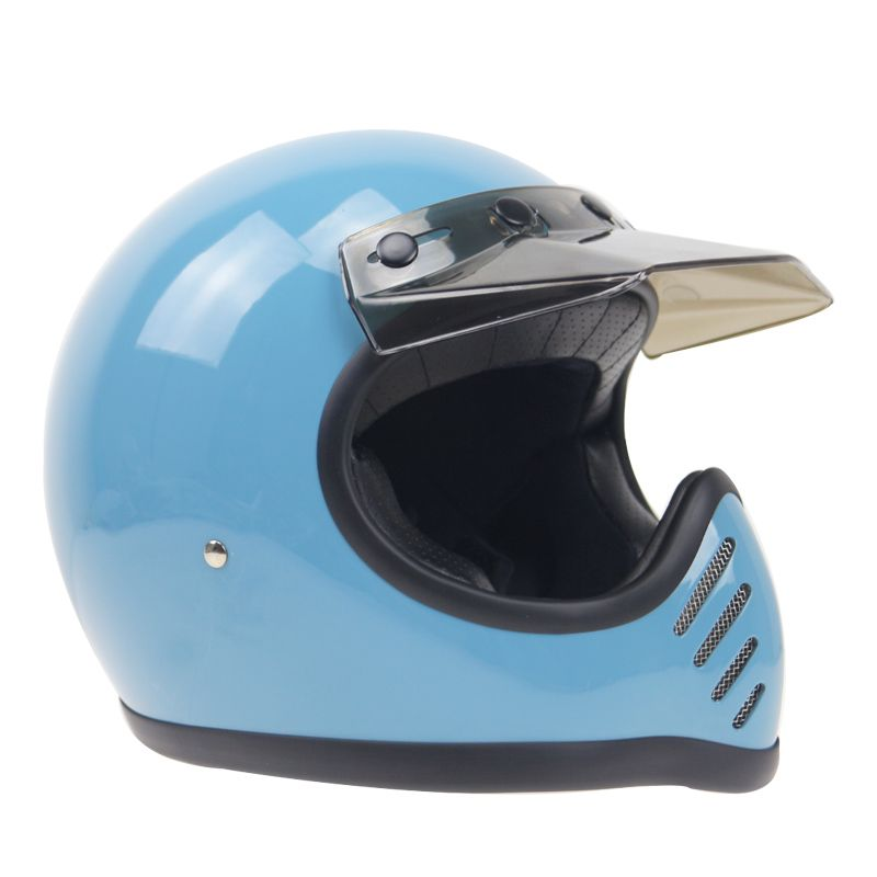 Leather Cover Full Face Vintage motorcycle helmet rider's gift choice DOT approved Fiberglass shell with detachable visor
