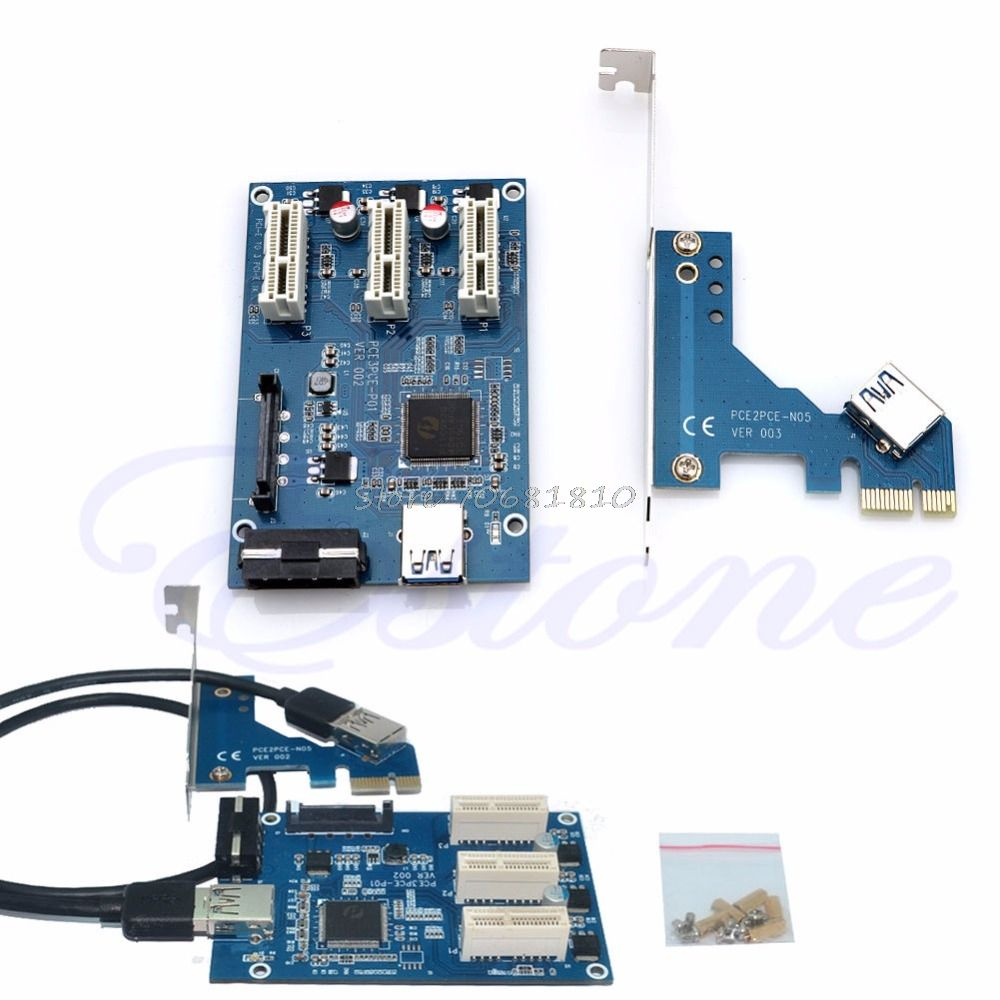 PCI-e Express 1X to 3 Port 1X Switch Multiplier HUB Riser Card +USB Cable Z09 Drop ship