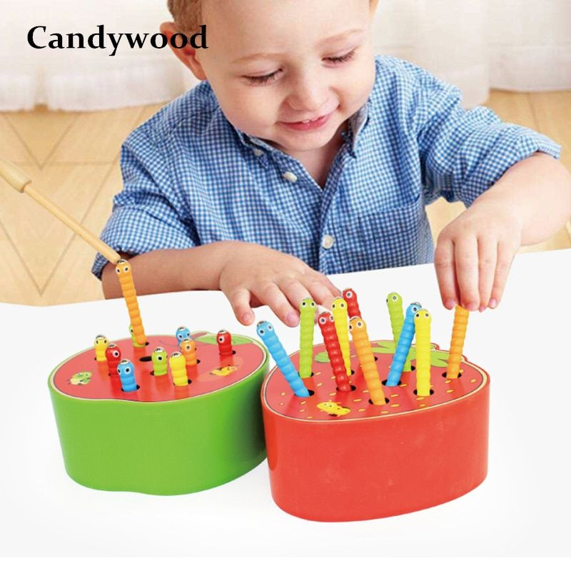 Candywood New Catch The Worm Game Magnetic Wooden Toys For Children Kids Early <font><b>Learning</b></font> Educational Toy Wooden Blocks Boys Toys