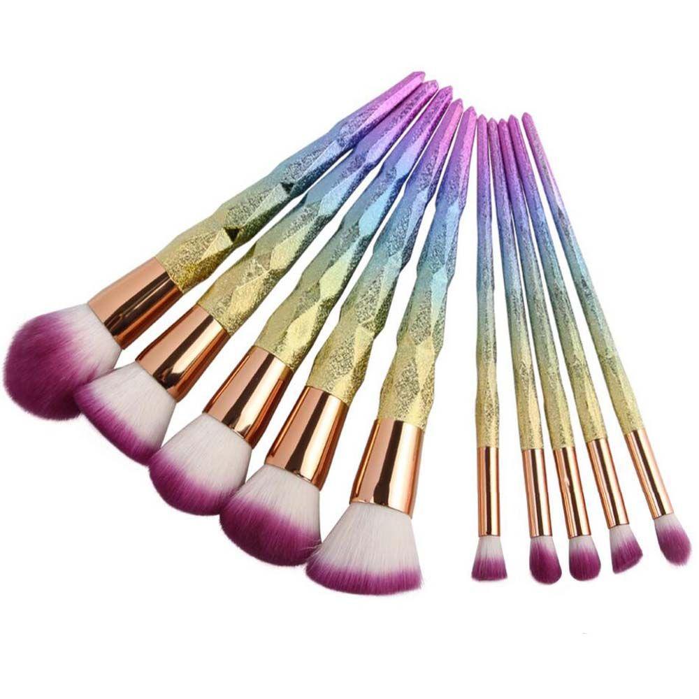 Coshine Nouveau Arriveral 10 pcs/ensemble Arc-En-Licorne Brillant Maquillage Brosse Ensemble Professionnel Fondation Poudre Crème Blush Brosse Kits