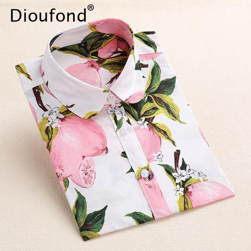Dioufond été Floral Blouse chemise femmes à manches longues hauts coton chemises blanc marine Blouses petite fleur Blusas