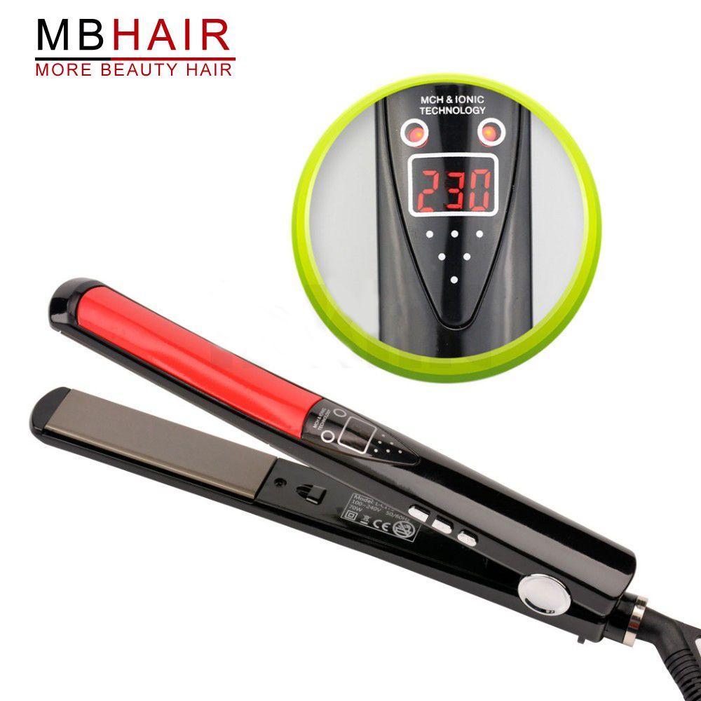 LCD Display Titanium plates Flat Iron Straightening Irons Styling Tools Professional Hair Straightener Free Shipping