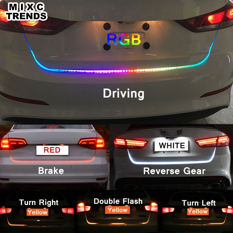 RGB RED Yellow White LEDS Car styling Led Strip <font><b>Tail</b></font> Turn Trunk Light Dynamic Flowing Warning DRL Luggage Compartment Lights