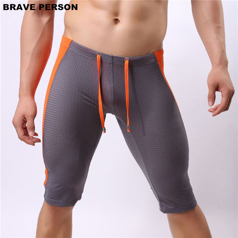 BRAVE PERSON Multifunctional Men's Beach Board Shorts Mesh Breathable Knee-length Tights Shorts Beach Wear Shorts Men Trunks