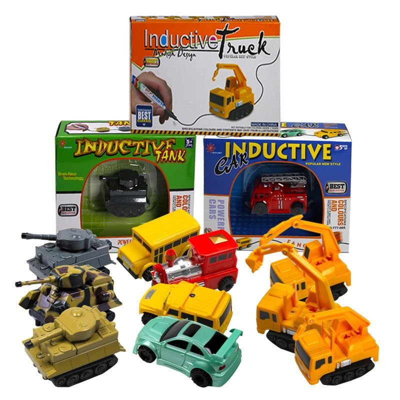 funny joy Magic Pen Inductive Toys Car Tank Truck Excavator Construction Model Series Follow Any Line You Draw for Kids