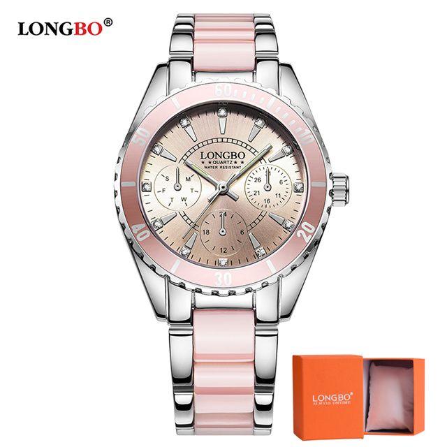 2018 LONGBO marque Montre de mode femmes de luxe en céramique et alliage Bracelet analogique Montre-Bracelet Relogio Feminino Montre Relogio horloge