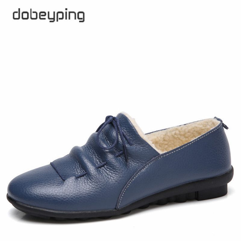 Повседневное из коровьей кожи женская обувь из кожи Хлопковая обувь, сохраняющая тепло женские туфли женские Туфли без каблуков Мех животн...