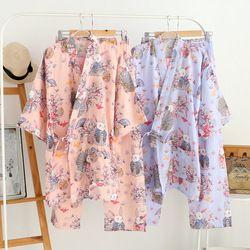 Японское парадное кимоно и брюки женские пижамные комплекты хлопок марля спа ванна юката Японский магазин Рабочий Костюм Мягкая Пижама