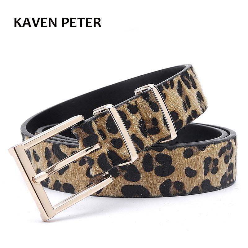 Female Belt Cummerbund Women Horsehair Belt With Leopard Pattern Rose Gold Metal Buckle Hot Sales Women Pu Belt Free Shipping