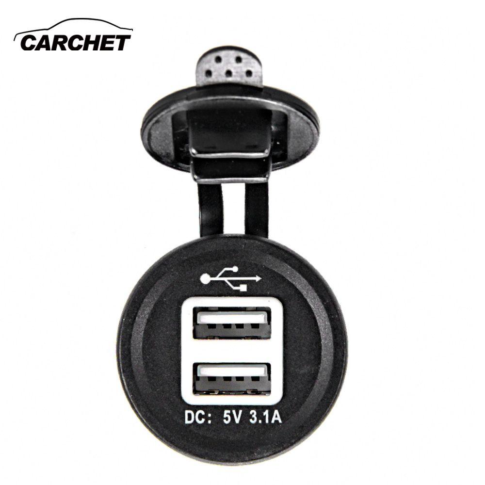 CARCHET Dual USB Socket Charger Adapter DC 12V 1.0A 2.1A Car Cigarette Lighter for GPS Mobile Blue LED Light Car Charger