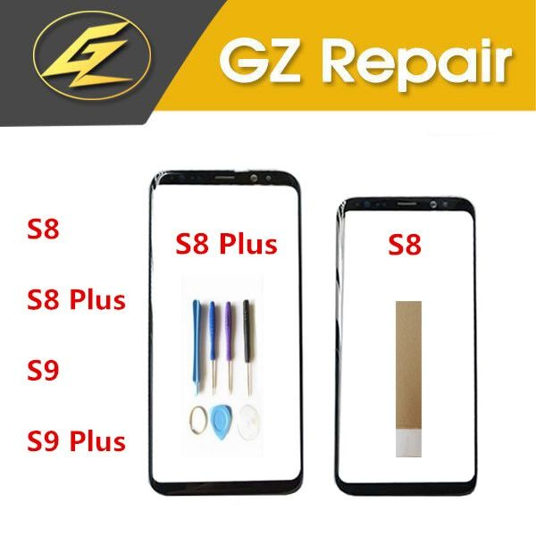 For Samsung Galaxy S8 G950 G950F S8 Plus G955 S9 Plus S9+ G955 G955F S9 Touch Screen Outer Glass Front Panel With Tools Tape
