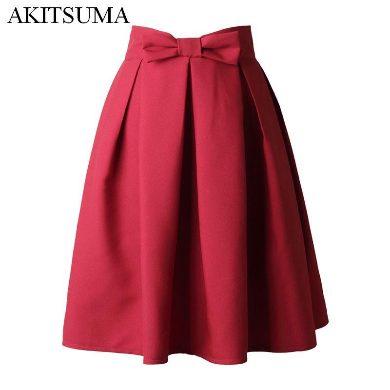 Akitsuma на лето и весну Юбки для женщин женские Высокая Талия плиссе до колена Длина юбка галстук-бабочка элегантные Повседневная юбка