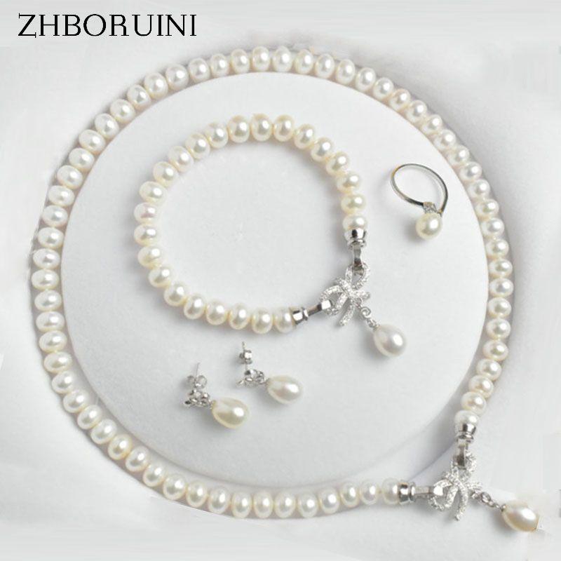 ZHBORUINI ensembles de bijoux en perles d'eau douce naturelle 925 bijoux en argent Sterling arc collier de perles boucles d'oreilles Bracelet pour les femmes cadeau