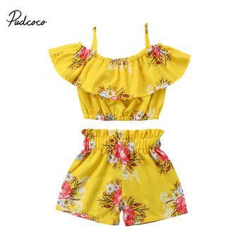 Pudcoco Enfant Fille D'été Vêtements Encolure À Volants Tops Élastique Shorts Bas Boutique Enfants Vêtements Tenues Set 2 pcs