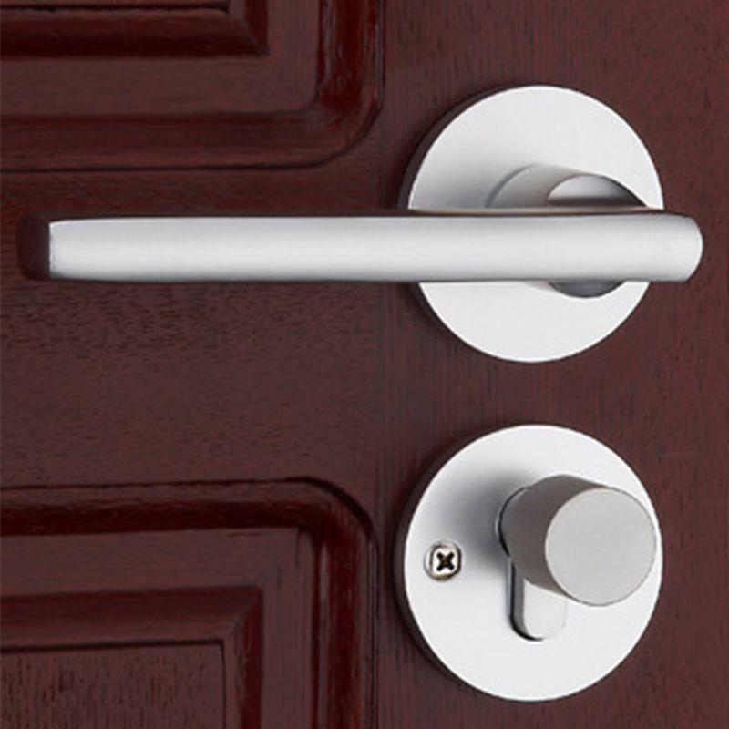 1Set Modernized & Simple Door Handle with Lock Aluminum Mechanical Key Silver Cylinder Durable Handleset For 35-45mm Doors