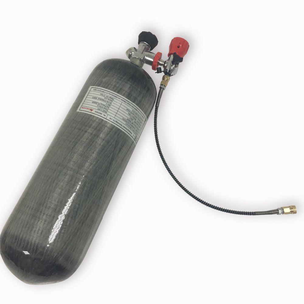 Vollen satz 9L 4500psi Druckluft Kohlefaser PRESSLUFTATMER Tank Zylinder für air gewehr jagd + gemessen ventil + füllung station mit schlauch