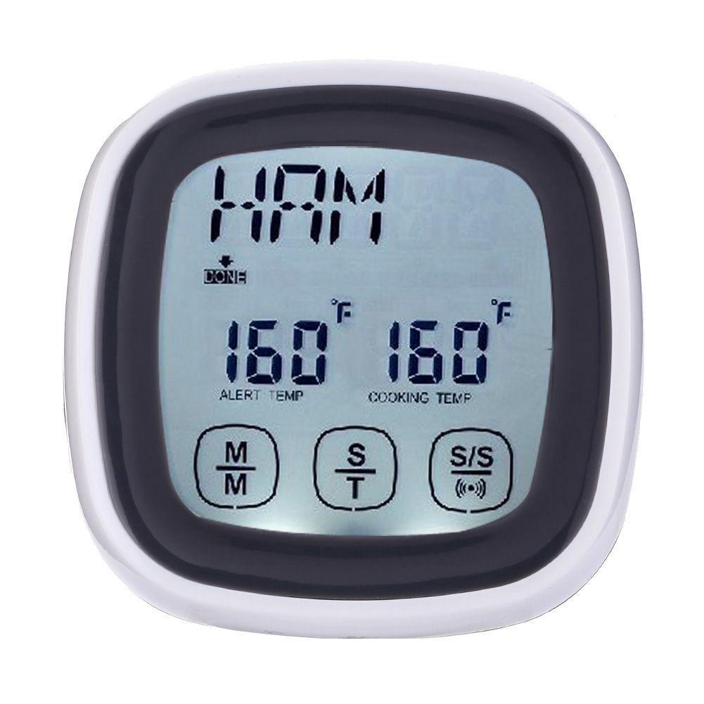 Écran tactile LCD Numérique Viande Cuisson BBQ Four Alimentaire Cuisine Sonde Thermomètre et Minuterie avec Alarme Sons Outil # LO