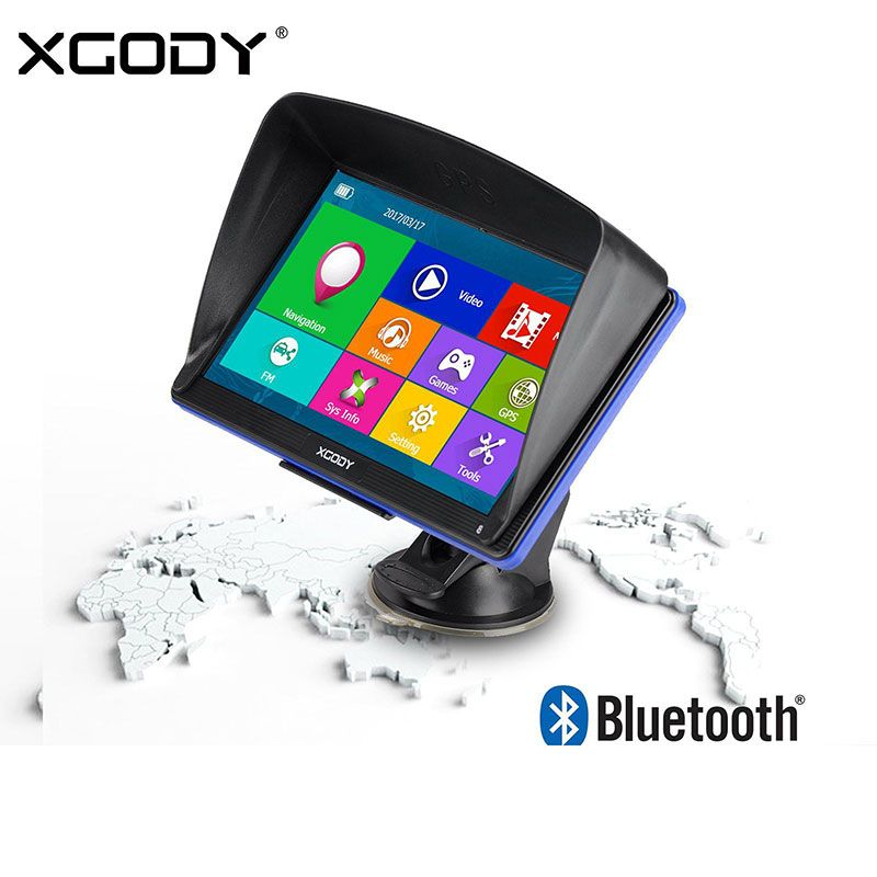 Xgody 7 Inch Car Gps Navigation Truck Gps Navigator Touch Screen Sat Nav Bluetooth Optional Free Map Spain Navitel Europe 2017