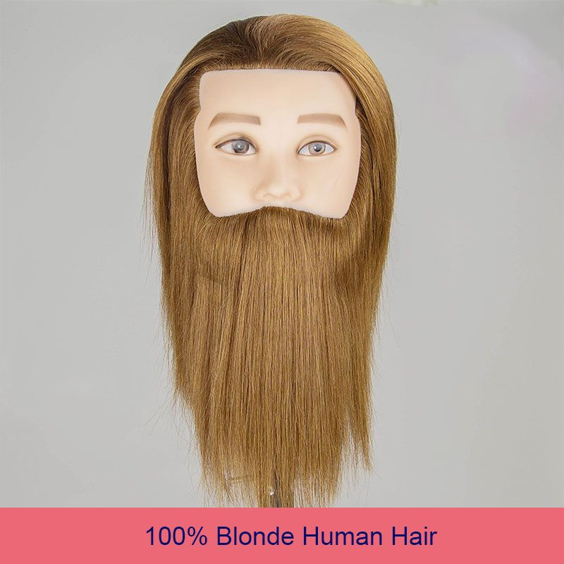 100% Human Hair Male Mannequin Head Blonde Hair Training Head Hairdressing Dummy Practice Training Mannequin Doll Head For Sale