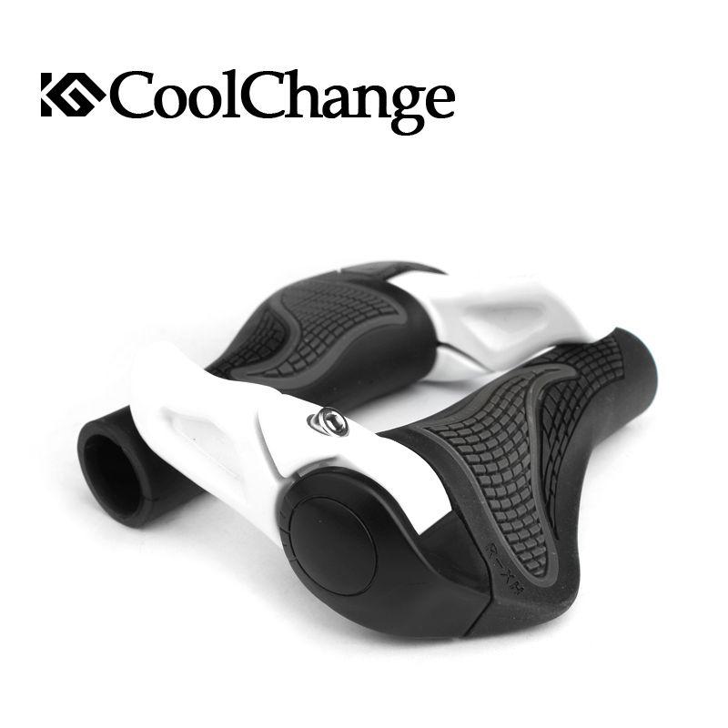 CoolChange Bicycle Bike MTB Components Bar ends Handlebars <font><b>Rubber</b></font> Grips & Aluminum Barend Soft Grips, 2 Colors,Free Shipping