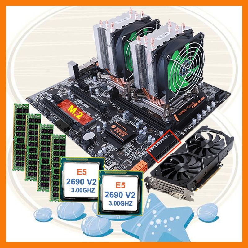 Rabatt HUANANZHI dual X79 motherboard bündel M.2 slot dual CPU Intel Xeon E5 2690 V2 RAM 4*16G 1866 video karte GTX1050TI 4GD5