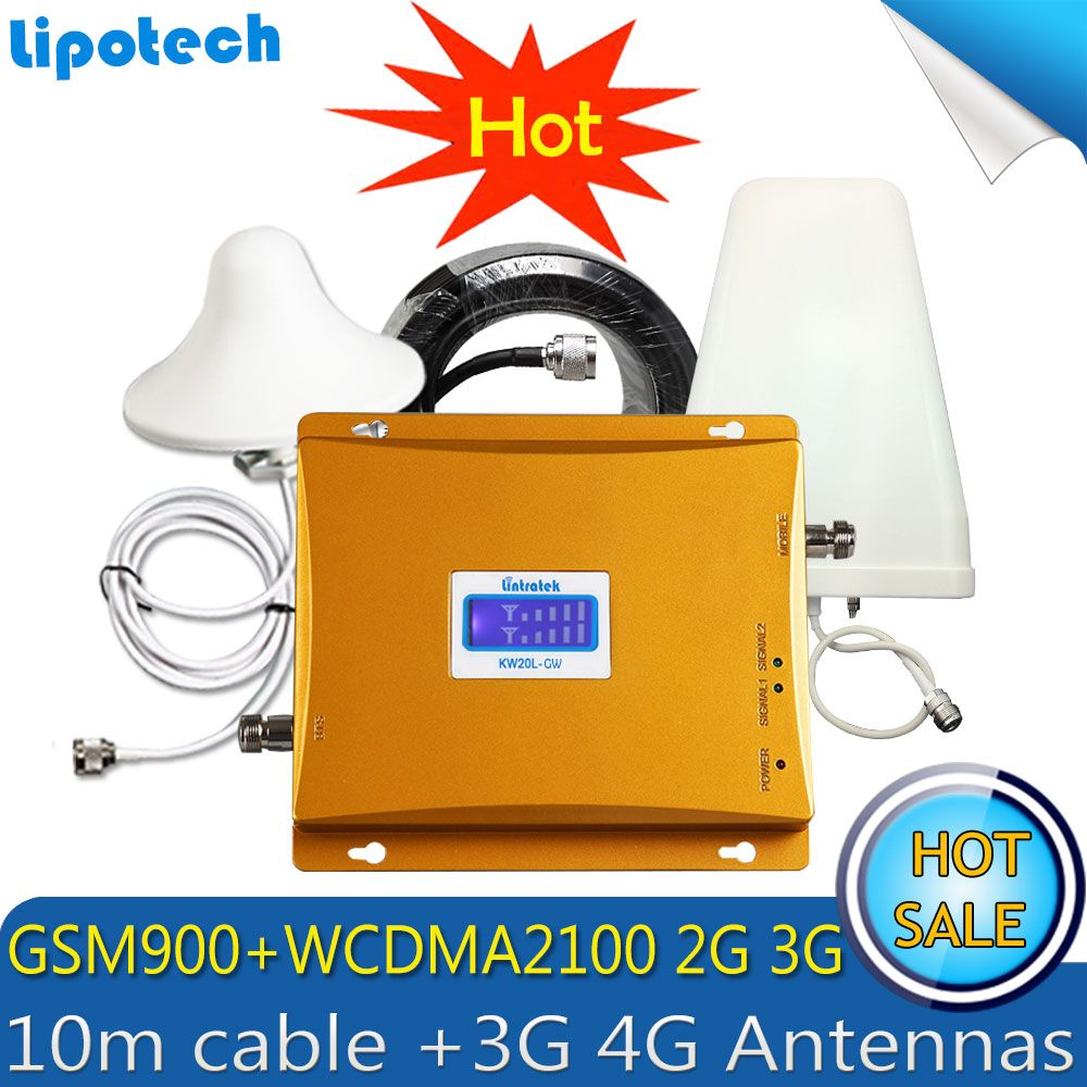 Lintratek 10m Cable Set 3G WCDMA 2100MHz GSM 900Mhz Dual Band Mobile Phone Signal Booster GSM Signal Repeater 3G 4G Antennas