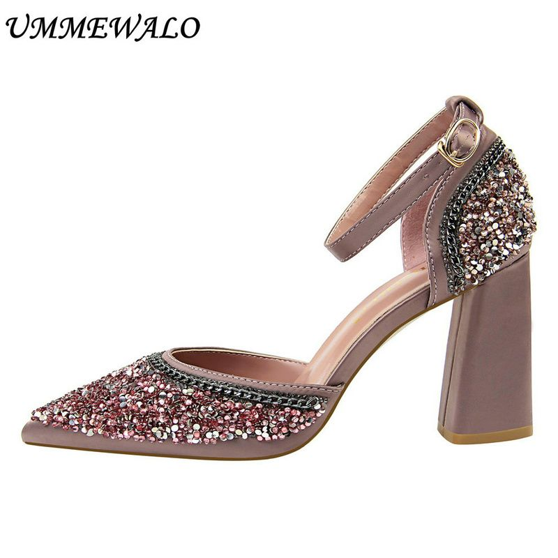 UMMEWALO Ankle Strap High Heel Shoes Women Chain Design Sexy Pointed Toe Sandals Woman Square Heel High Shoes Ladies Shoes
