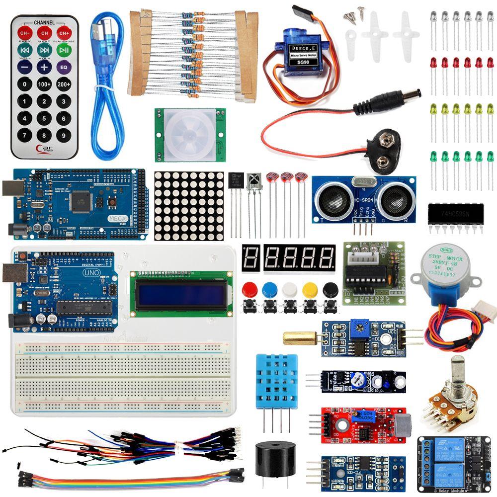 VENTE CHAUDE Super Starter Kit Pour Arduino UNO R3 & Mega2560 Conseil pour 1602 LCD Servo Moteur Relais D'apprentissage De Base Suite