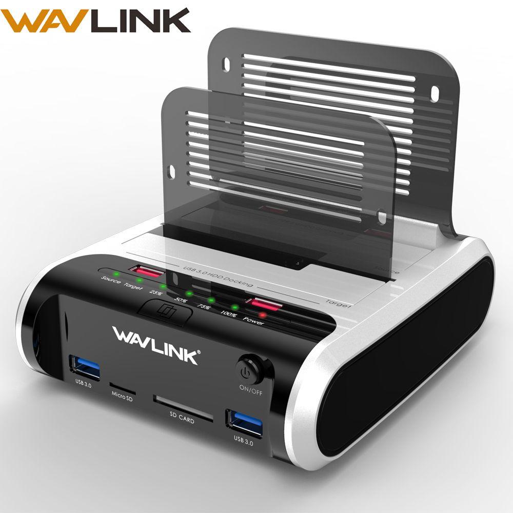 Wavlink 2.5 3.5 inch USB 3.0 to SATA Dual-Bay Hard Drive Docking Station w/ Offline Clone&UASP Card Reader for 2.5