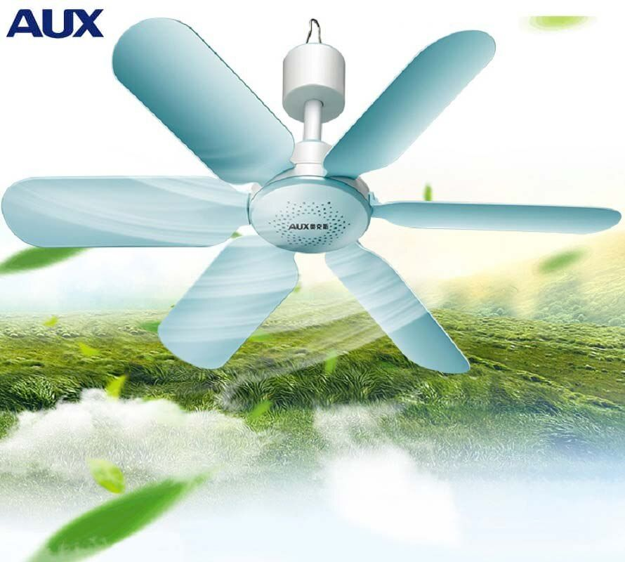 AUX Mini Household Mute <font><b>Ceiling</b></font> Fan 220V 7W Energy Saving Fan ABS 6 blades Sleep/Natural Wind Home Student Dorm Use Blue FC-16A1