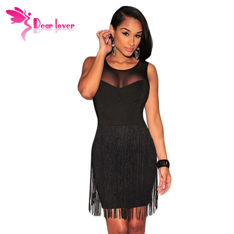 2016 Women Summer Dresses to Party Black Mesh Accent Fringe Mini Tank Bodycon Dress Vestidos Verao Little Black Dresses LC21986