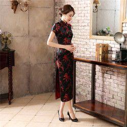 Китайское традиционное платье черного и красного цвета, женское шелковое атласное платье Чонсам Qipao, Летнее Длинное платье с короткими рука...