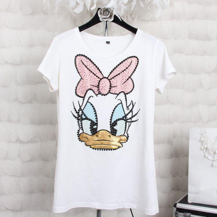 Grande taille 4XL femmes d'été à manches courtes paillettes Donald Duck imprimer t-shirts mode haut blanc t-shirts femmes filles Designer vêtements
