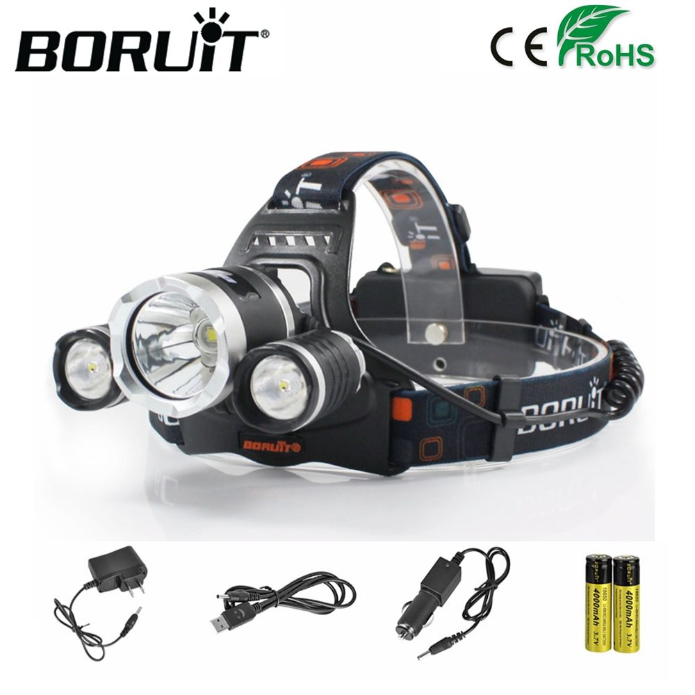 BORUiT RJ-5000 XML-T6 R2 12000LM Headlight 4-Mode Headlamp Power Bank Head Torch Hunting Camping Flashlight 18650 Battery Light