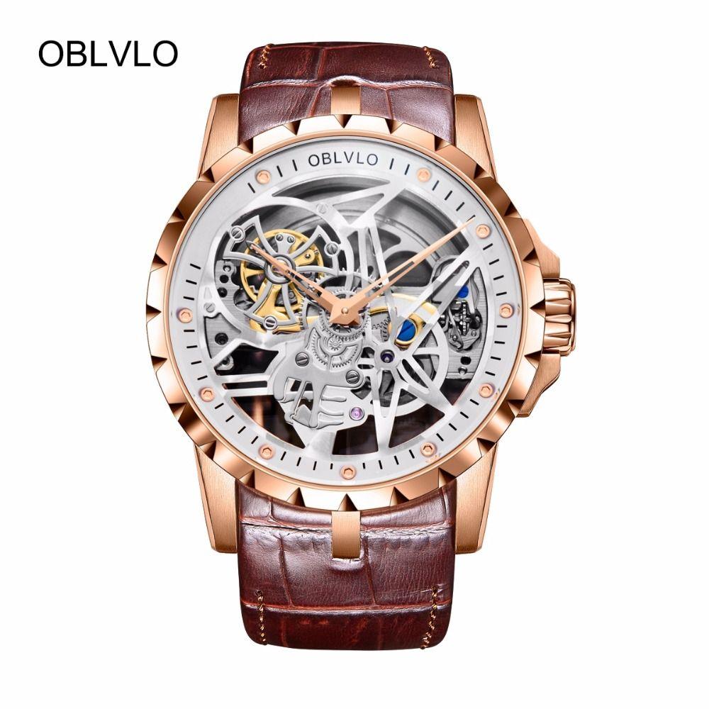 OBLVLO Military Skeleton Uhren für Männer Analog Display Tourbillon Automatische Uhren Braun Lederband RM-1