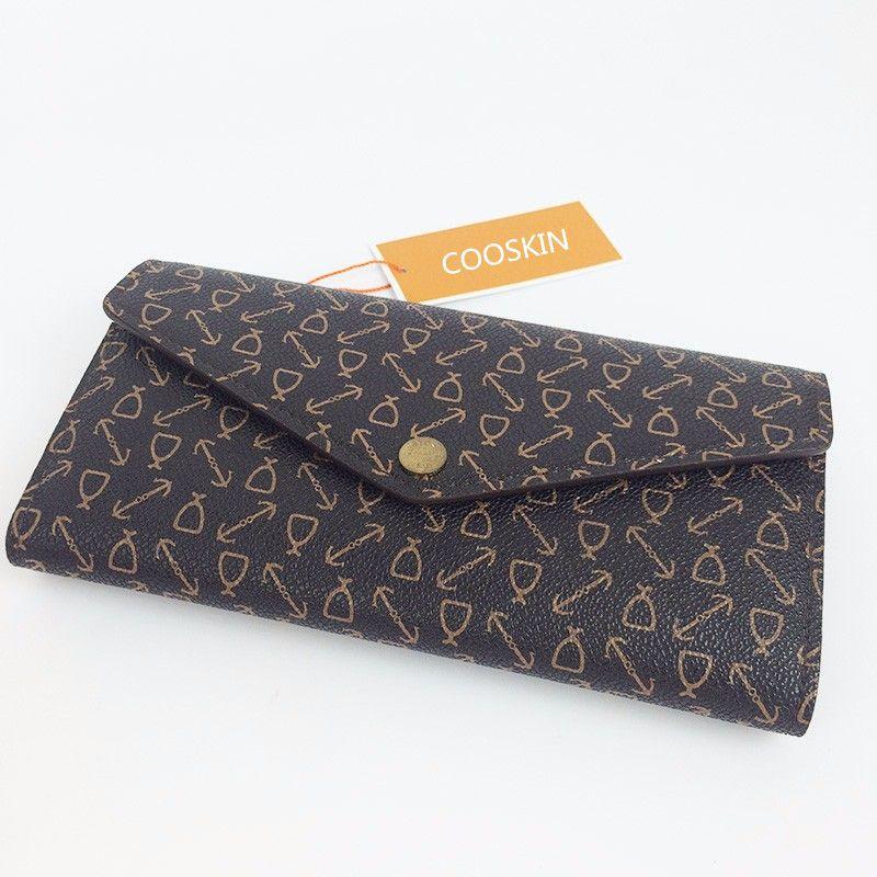COOSKIN Neue Mode Damen monogram canvas Frauen Lange Mappen Design Frauen sarah brieftaschen kostenloser versand