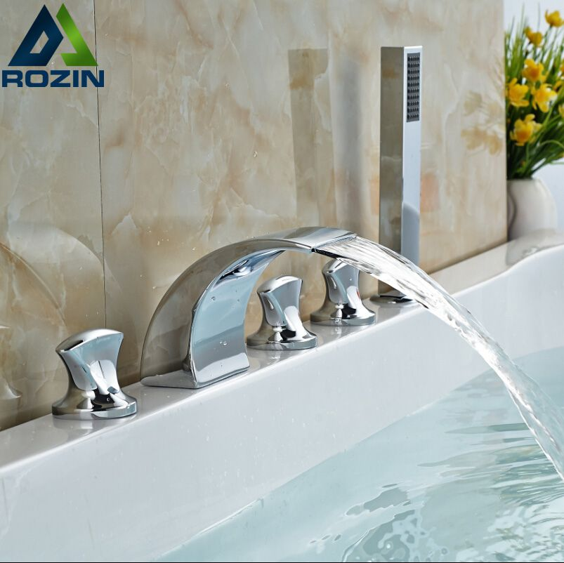 Luxury Chrome Finish 5pcs Bathroom Tub Faucet Swan Shape 3 Handles Bathtub Mixer Taps Deck Mount 5 Hole