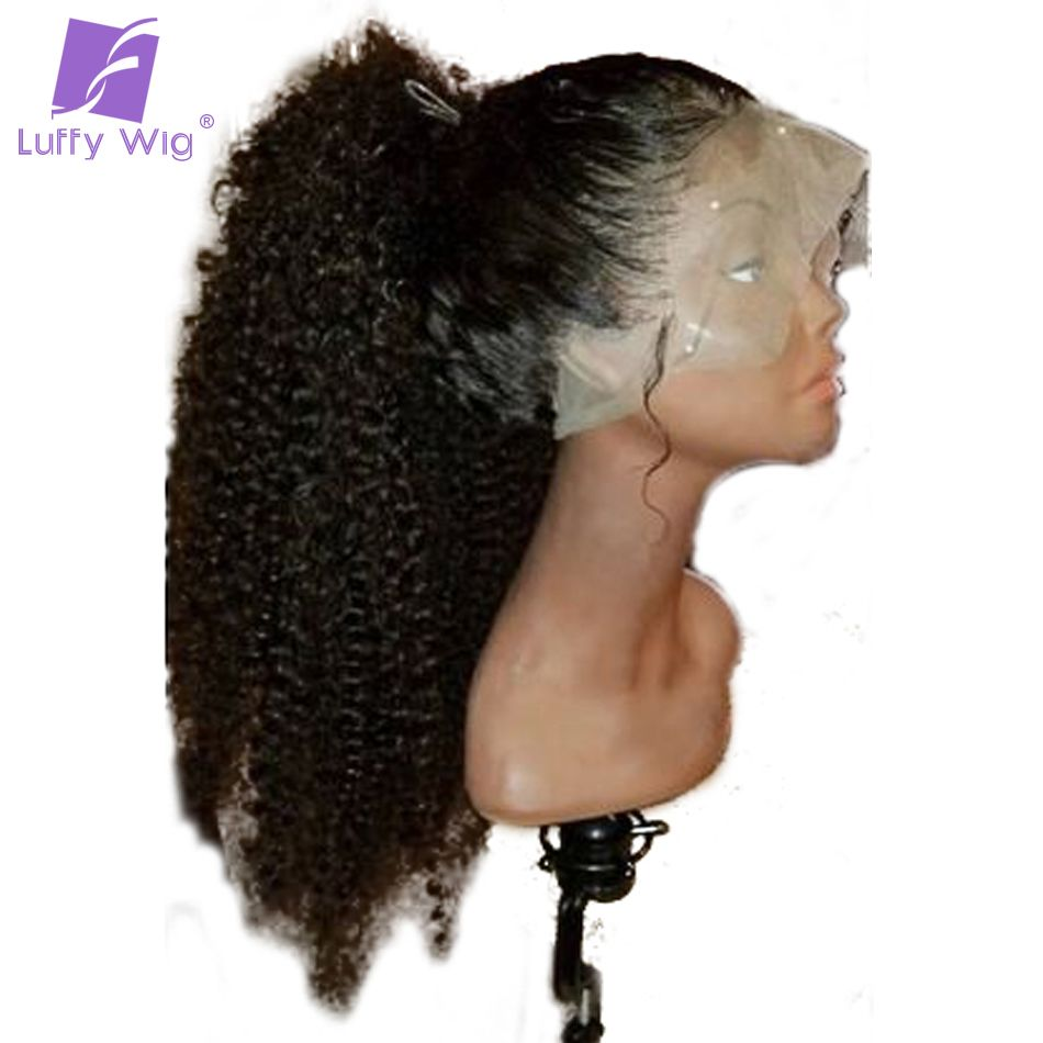 Luffy Kinky Curly Full Lace Human Hair Wigs Pre Plucked Glueless Non-remy Malaysian Hair 130%Density With Baby Hair