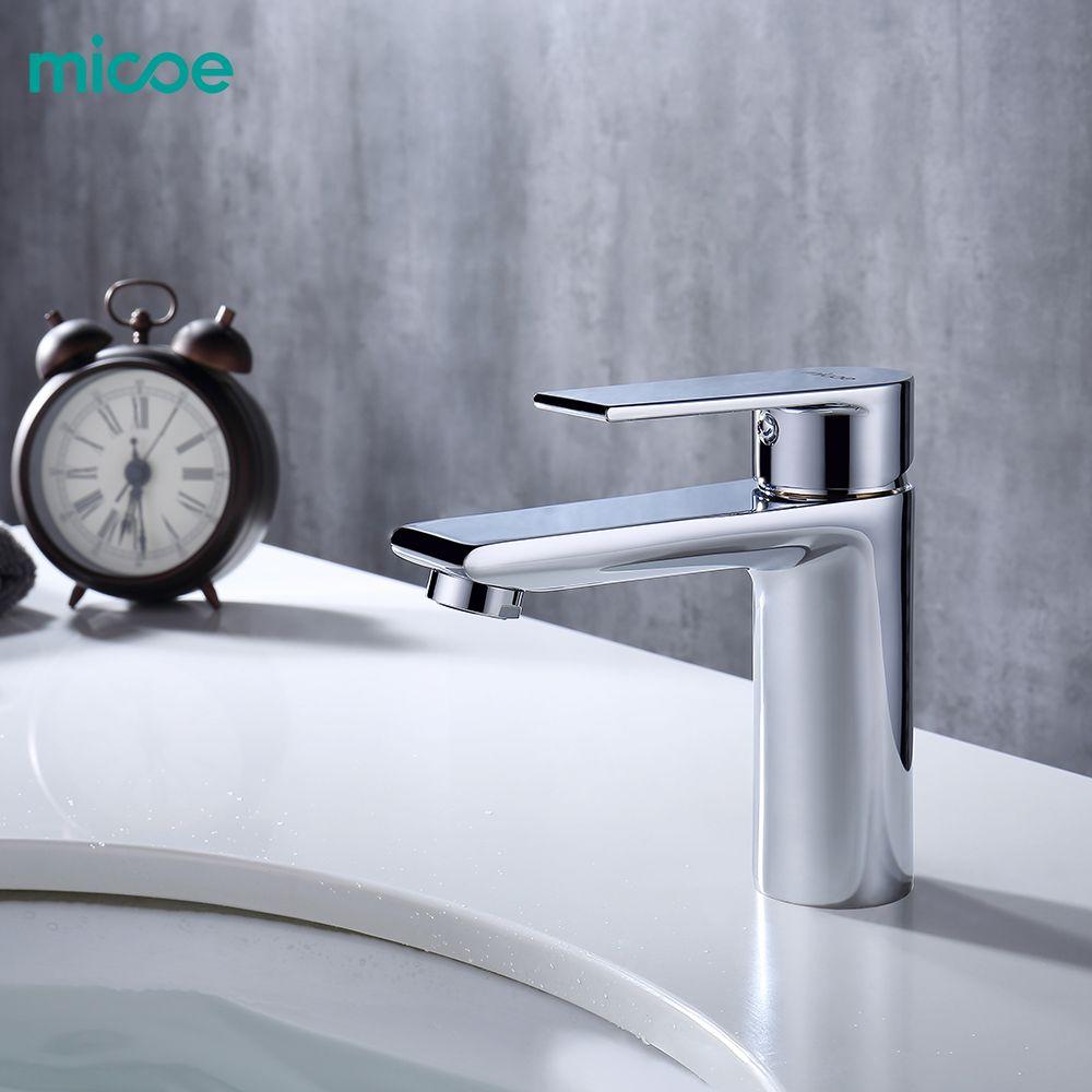 Micoe nouveau bassin robinet bassin robinets salle de bains robinet lavabo évier pont monté bassin mélangeur Chrome laiton salle de bains robinets H-HC217