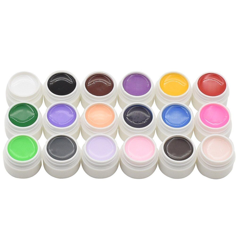 Nail art Painting Gel Pure color uv gel Design 18 Colors Soak off LED UV Nail Gel Set Pink color UV Gel kit set