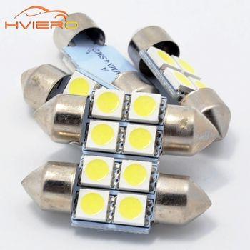 Blanc 10 Pcs 5050 4smd 4 smd 31mm C5W LED Micro Générale voiture LED Intérieur Feston Dôme Ampoules Lampe DC 12 V Intérieur lumières