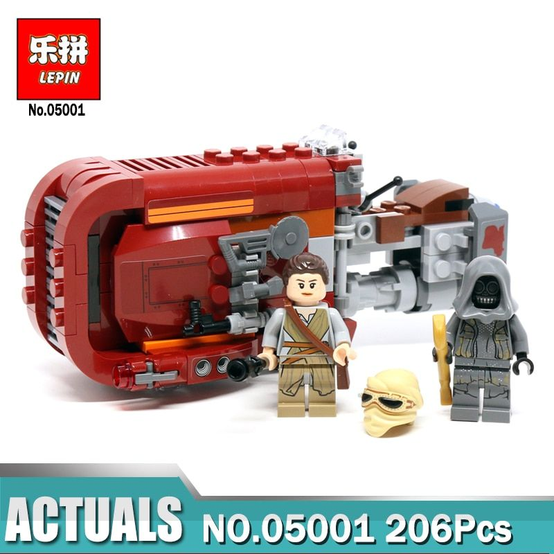 05001 206pcs Star Wars The Force Awakens Rey\'s Chariot Speeder Lepin Building Block Compatible Legoing 75099 Brick Toy