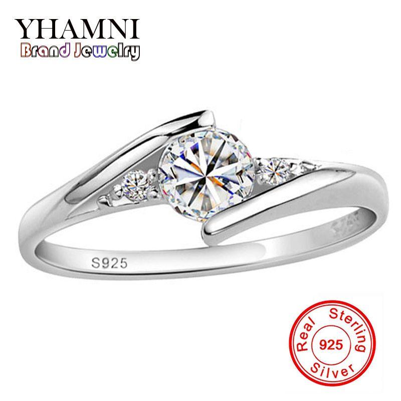 YANHUI Réel 100% 925 Bague En Argent Massif 0.5 Carat CZ Diamant Anneaux De Mariage Pour Les Femmes ANNEAU TAILLE 4 5 6 7 8 9 10 YH500036