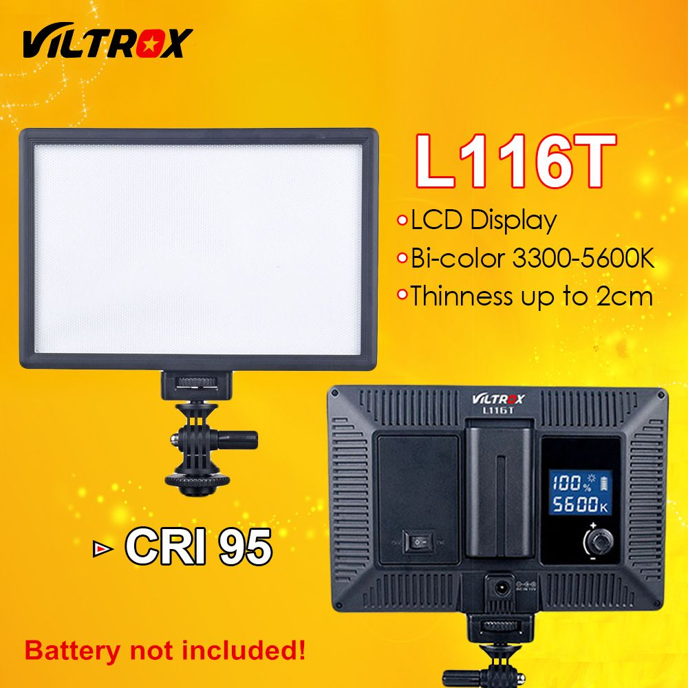 <font><b>Viltrox</b></font> L116T LED Video Light Ultra thin LCD Bi-Color & Dimmable DSLR Studio LED Light Lamp Panel for Camera DV Camcorder