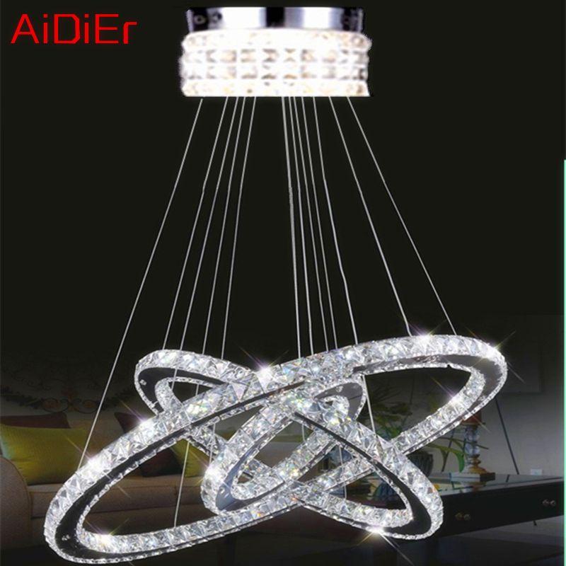 NEUE 3 Runde diamant ring kristall lampe Moderne wohnzimmer led-glanzmittel K9 kristall Poliert Chrom Kronleuchter
