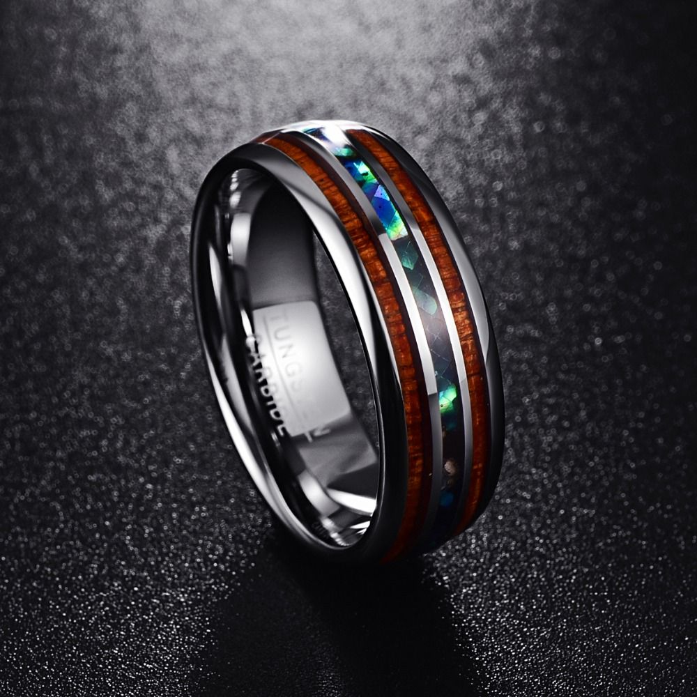 Nuncad Customized Artichoke Tungsten Steel Ring 8MM Polished Matte Abalone Shell Ring